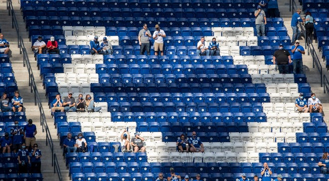 Fans, increased to 7,500, from last week's 2,500, in attendance at New York Jets at Indianapolis Colts, Lucas Oil Stadium, Sunday, Sept. 27, 2020. Colts won 38-7.
