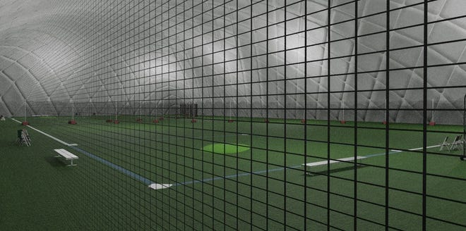 A rendering shows the inside of the inflatable 100-foot tall sports dome complex proposed in Somersworth.