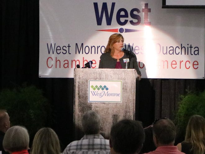 West Monroe Mayor Staci Mitchell discusses past, present and future projects at the State of the City luncheon Aug. 24, 2021.