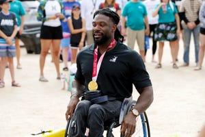 Paralympian Matt Scott at the Arizona Adaptive Water Sports Kids Day, Oct. 9, 2021, at Bartlett Lake in Carefree, Arizona.