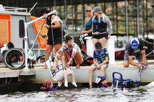 Bella Collett prepares for water skiing at the Arizona Adaptive Water Sports Kids Day, Oct. 9, 2021, Bartlett Lake in Carefree, Arizona.